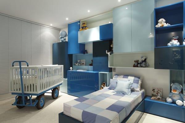 dormitorio de bebe menino moderno azul