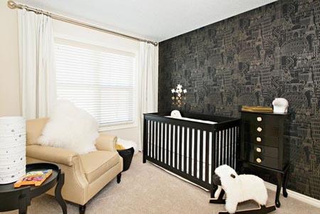 quarto de bebe elegante preto e branco