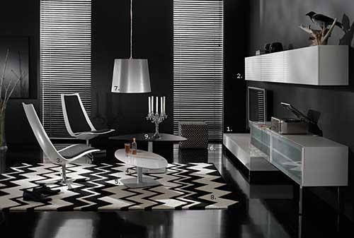 sala preto e branco moderna e usada