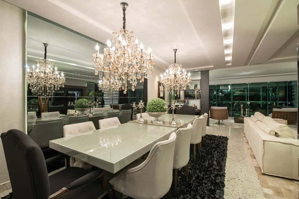 sala de jantar elegante e contemporanea