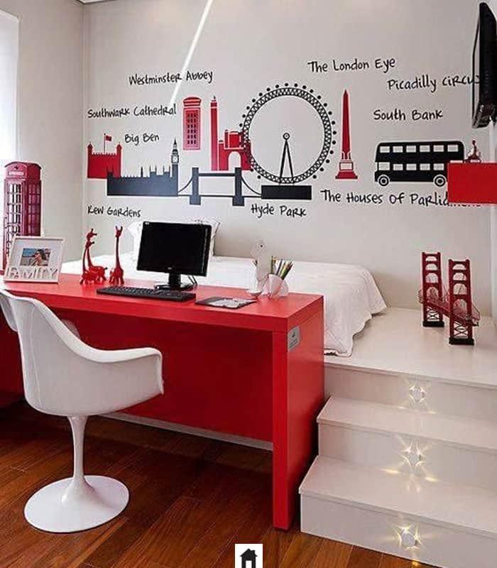 home office pequeno vermelho no quarto