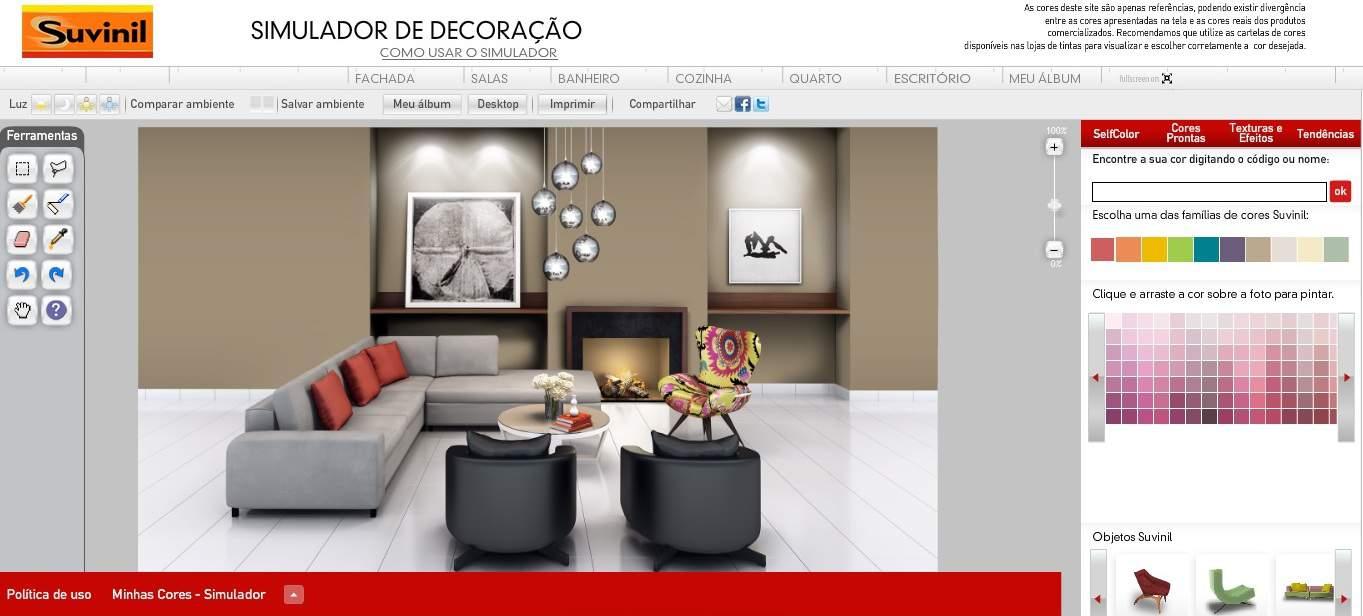 Simulador de tintas da suvinil como usar na decora o for Simulador de cocinas integrales online