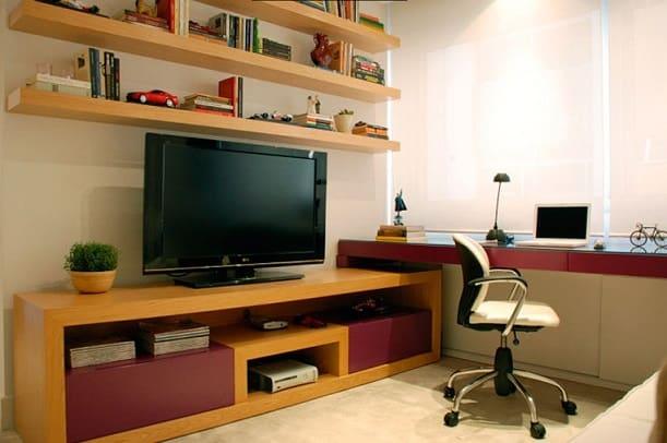 Home Office Na Sala De Tv ~ decoracaodehomeofficenasaladetv