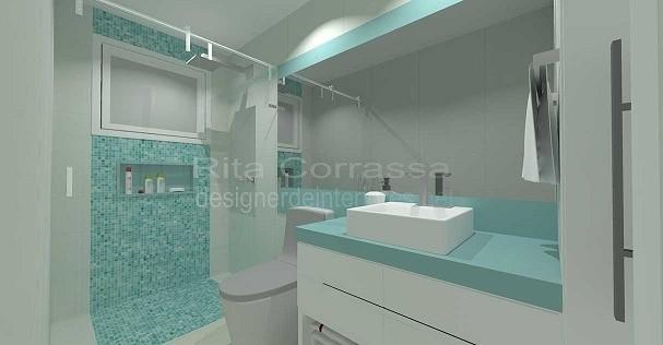 Banheiros com pastilha de vidro + FOTOS, IDEIAS, MODEL -> Banheiros Com Pastilhas Apenas No Box