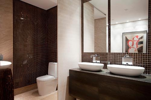 Banheiros com pastilha de vidro + FOTOS, IDEIAS, MODELOS -> Banheiro Decorado Com Pastilhas Marrom