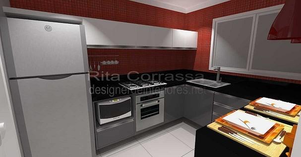 Projeto De Cozinha Moderna Com Pastilhas Vermelhas
