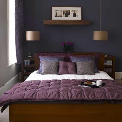 dormitorio sobrio e feminino roxo