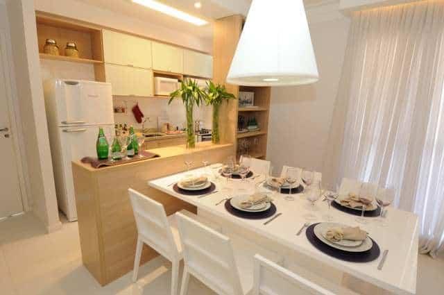 decoracao de cozinha integrada a sala de jantar:Cozinha De Apartamento