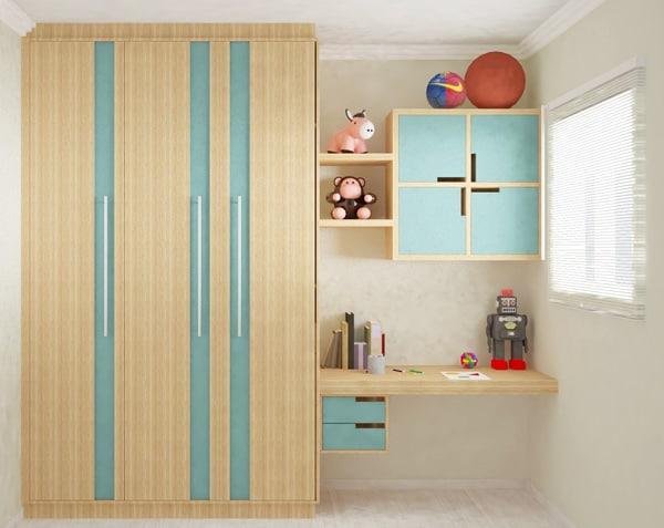 01 armario simples de madeira com cor nas portas