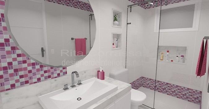 Banheiros  Construção e Design -> Banheiro Pequeno Decorado Rosa