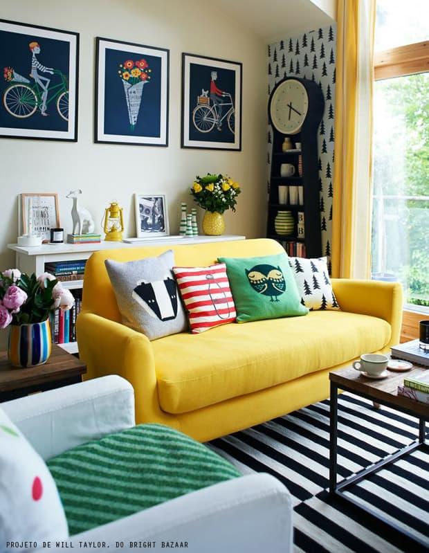 Resultado de imagem para decoração sofá amarelo