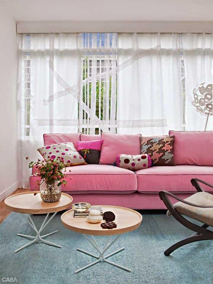 09 sofa rosa na decoracao elegante