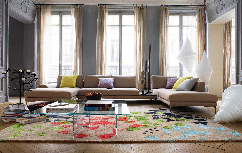 decoracao de sala com tapete estampada