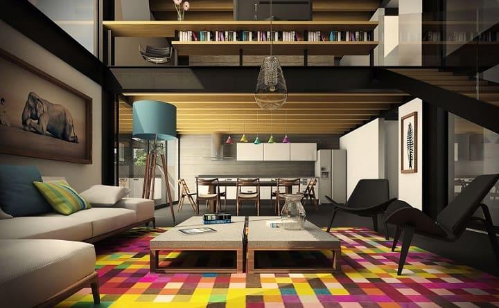 loft moderno com tapete estampado colorido