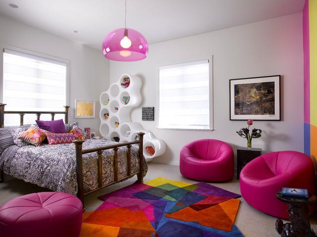 quarto feminino com tapete estampado