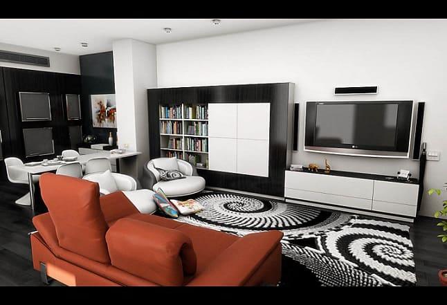 sala de tv com tapete estampado com espirais preto e branco