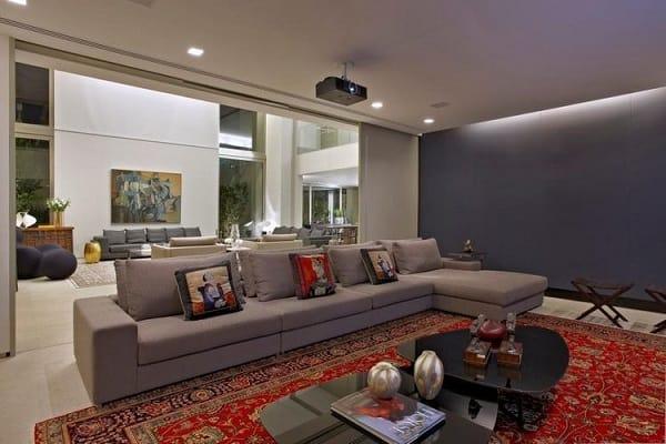 tapete classico estampado vermelho na decoracao da sala