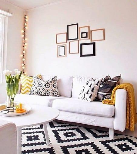 tapete geometrico preto e branco