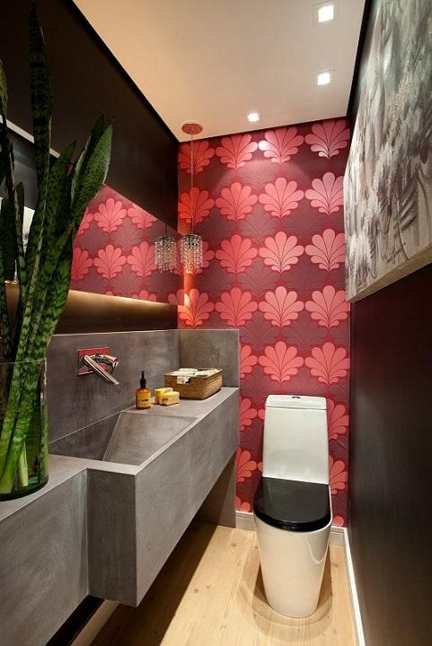 decoracao no lavabo:Gostaram das ideias de lavabo com papel de parede? Qual vai ser a sua