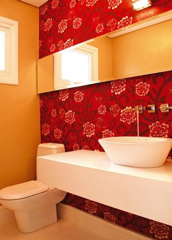 Decora o de lavabos com papel de parede fotos e ideias - Papel decorado para paredes ...