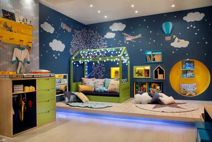 quarto infantil azu moderno e colorido