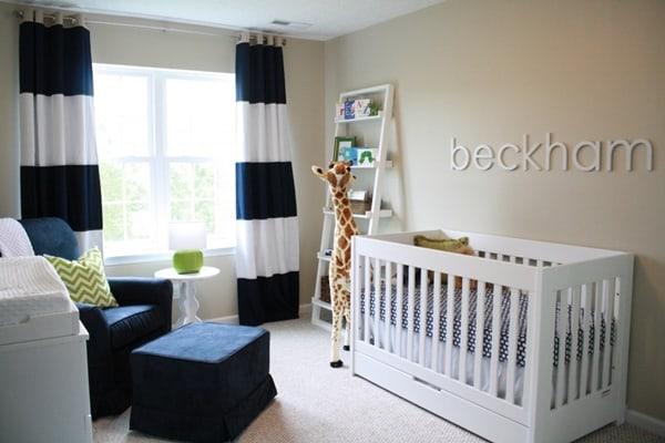 Dormitorio de bebe menino e moderno minimalista