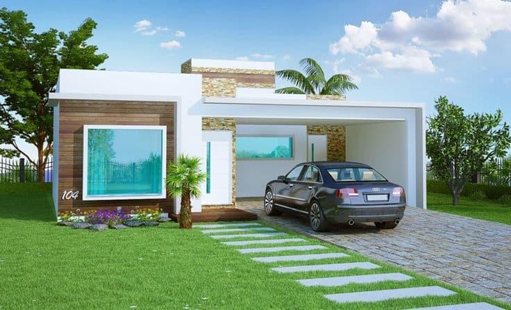 17 ideias de fachada para casas pequenas veja fotos for Fachadas de casas modernas de 2 quartos