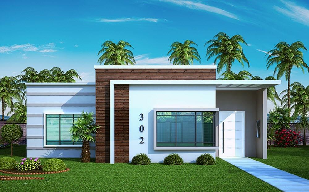 17 ideias de fachada para casas pequenas veja fotos for Casa minimalista 120m2