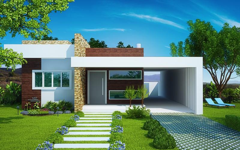 17 ideias de fachada para casas pequenas veja fotos for Fotos de fachadas de casas pequenas
