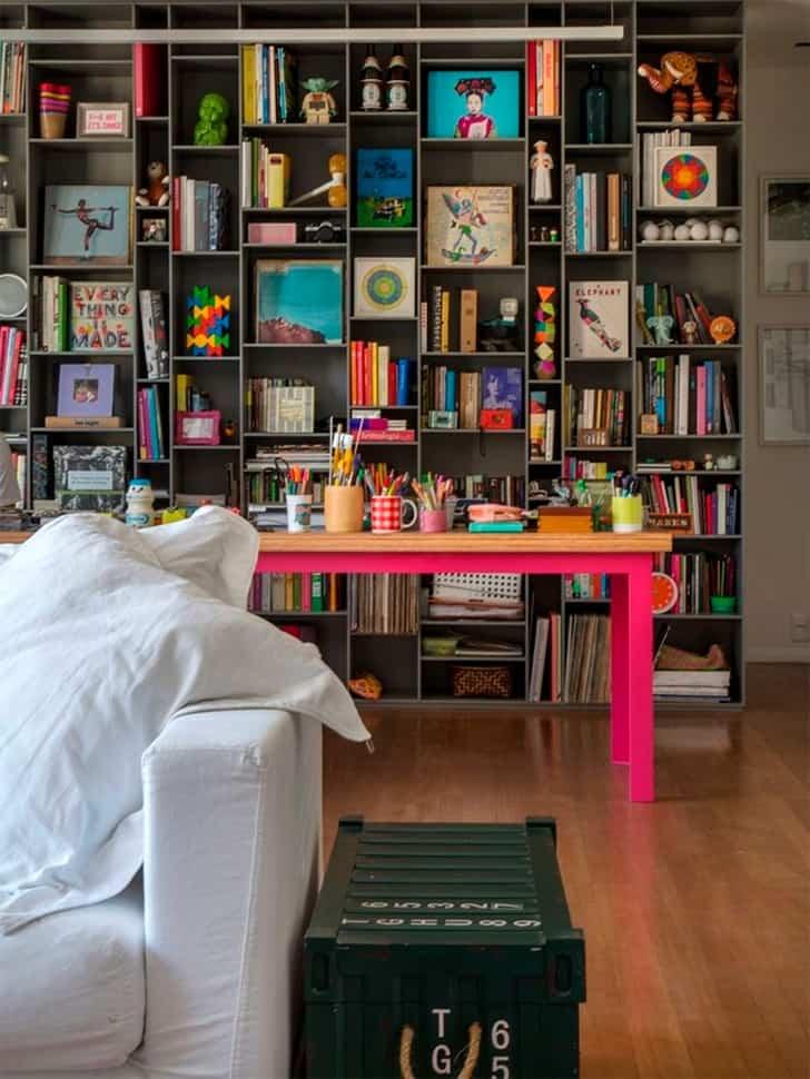02 estante moderna sob medida cinza decoracao