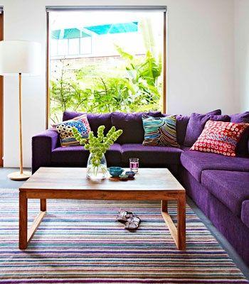 sofa de canto roxo decoracao sala