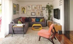 sofa de canto sala moderna colorida