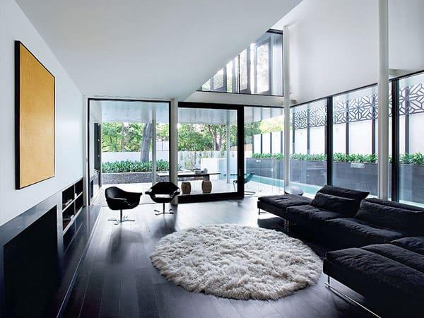 30 fotos de ambientes com piso preto porcelanato laminado for Casa moderna black walnut luxury vinyl plank