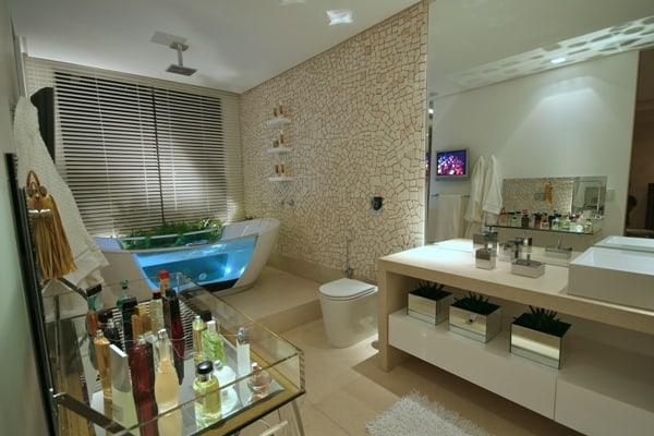25 banheiro chique com banheira moderna