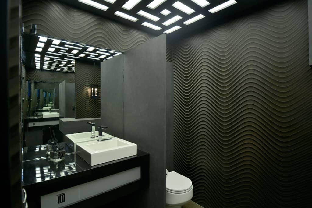 7 Revestimentos pretos para banheiro e cozinha  Modelos e sugestões -> Banheiros Modernos Escuros