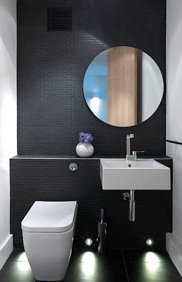 7 Revestimentos pretos para banheiro e cozinha  Modelos e sugestões -> Banheiro Simples Preto