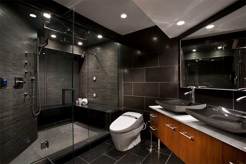 7 Revestimentos pretos para banheiro e cozinha  Modelos e sugestões -> Banheiro Decorado Com Porcelanato Preto