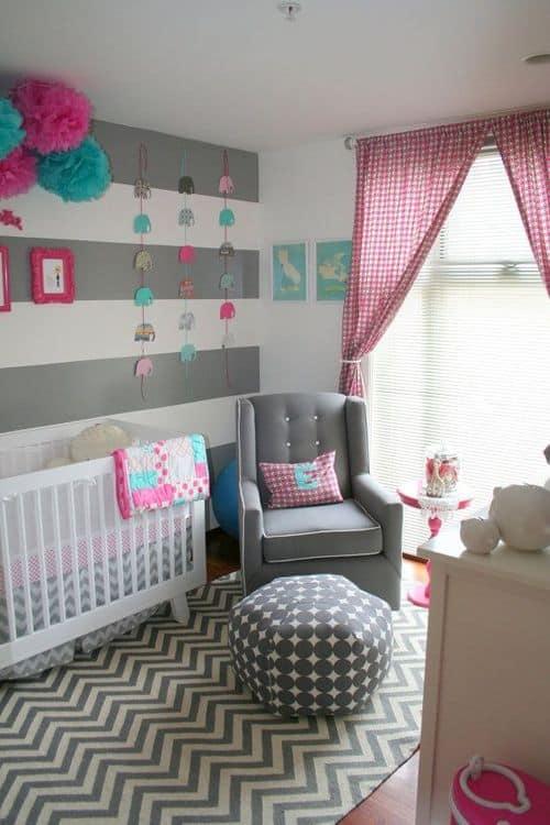 jogo de estampa com chevron quarto de bebe