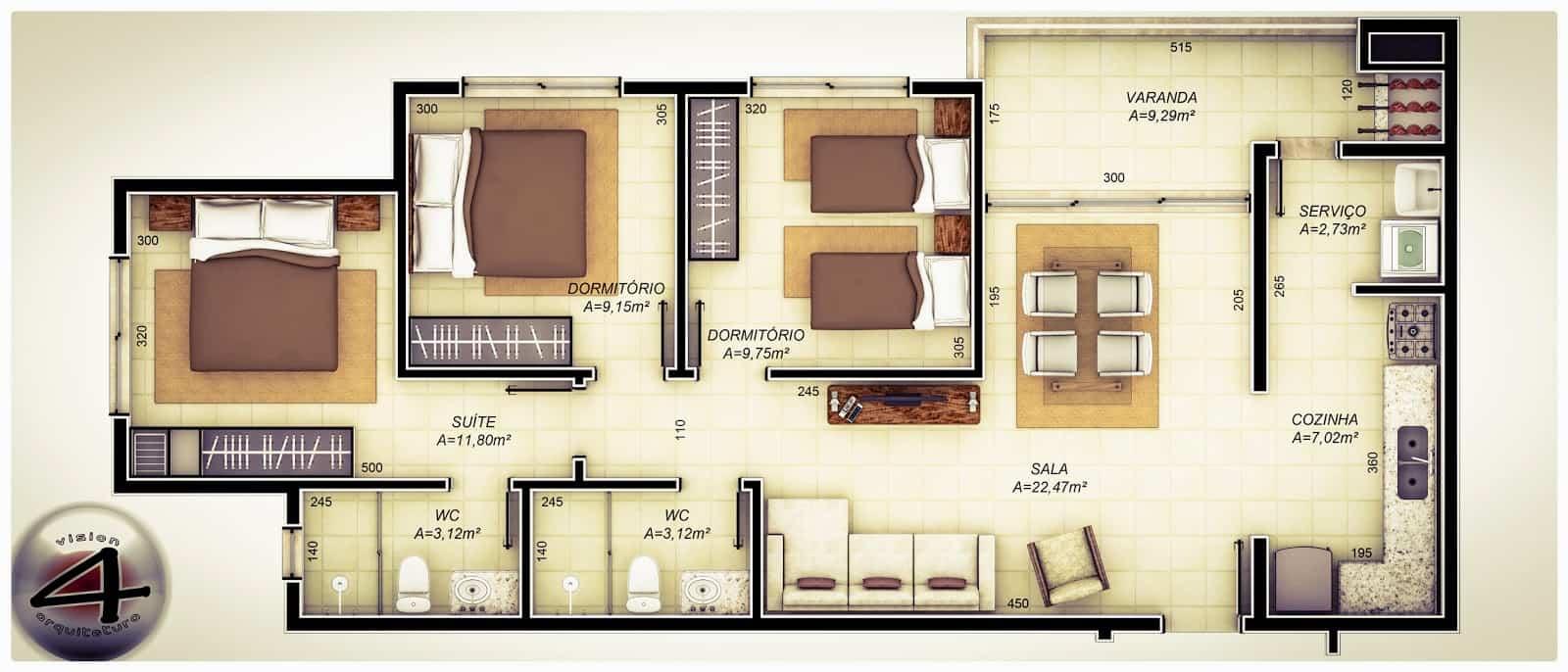 Curso de planta humanizada online pack de 446 blocos for Modelos de apartamentos