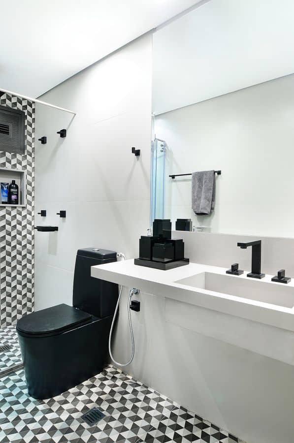 14 Ideias para usar vaso preto no banheiro -> Decoracao De Banheiro Com Vaso Cinza