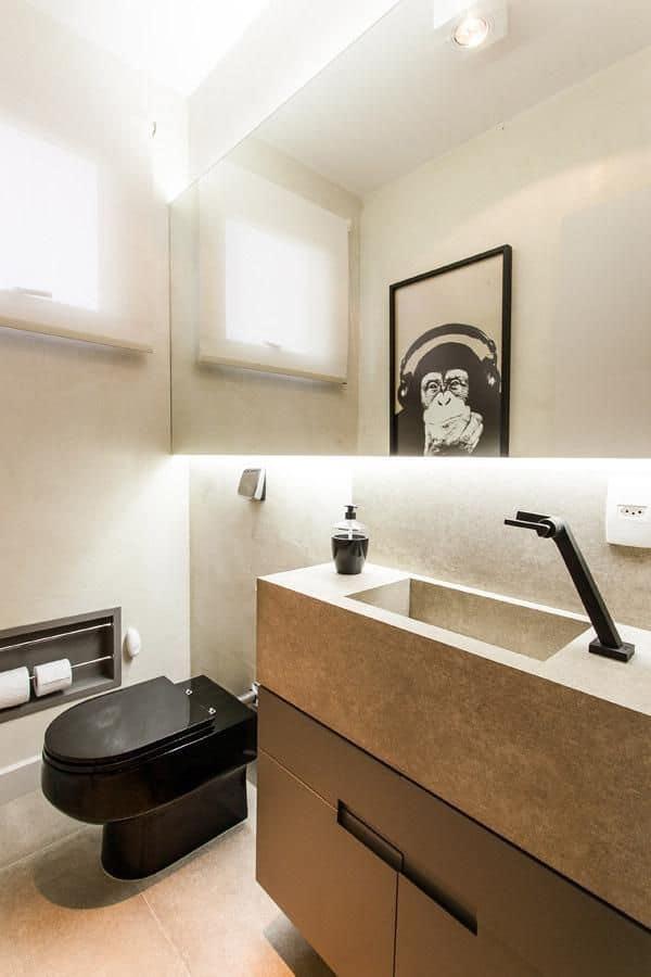 14 ideias para usar vaso preto no banheiro - Piso pequeno moderno ...