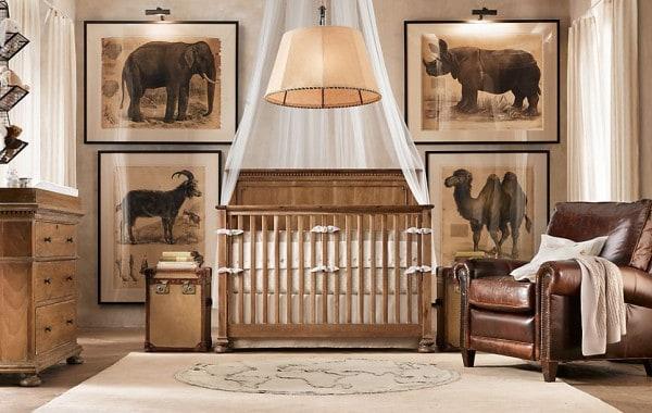 quarto de bebe classico e de selva