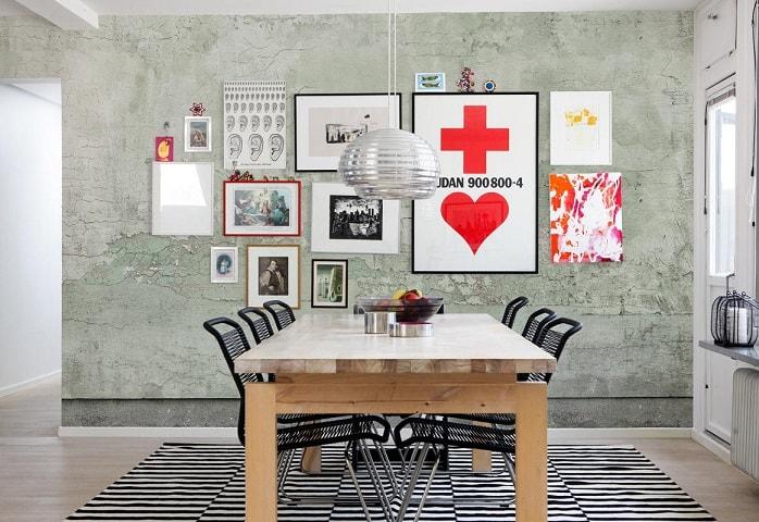Quadros decorativos modernos na sala de jantar