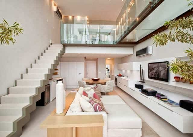 Escada moderna branca e cinza decoracao