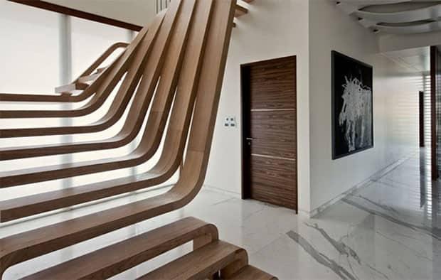 escada de design de madeira morna