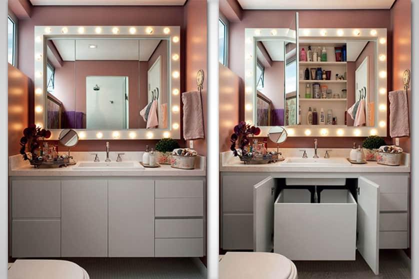 espelho camarim no banheiro