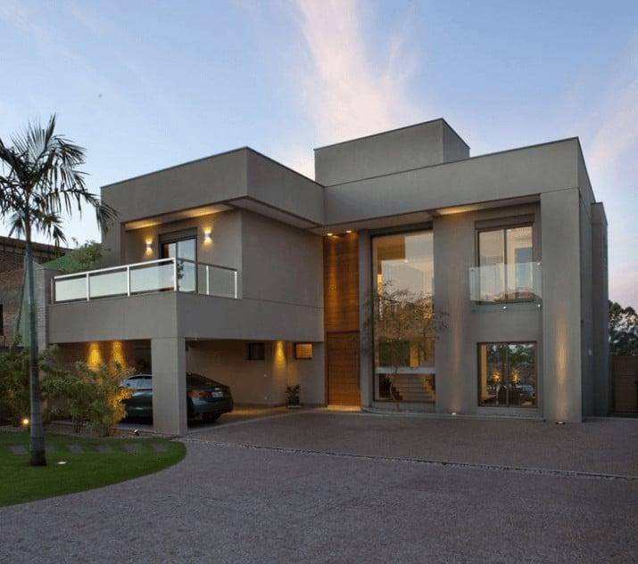 fachada de casa moderna com varanda