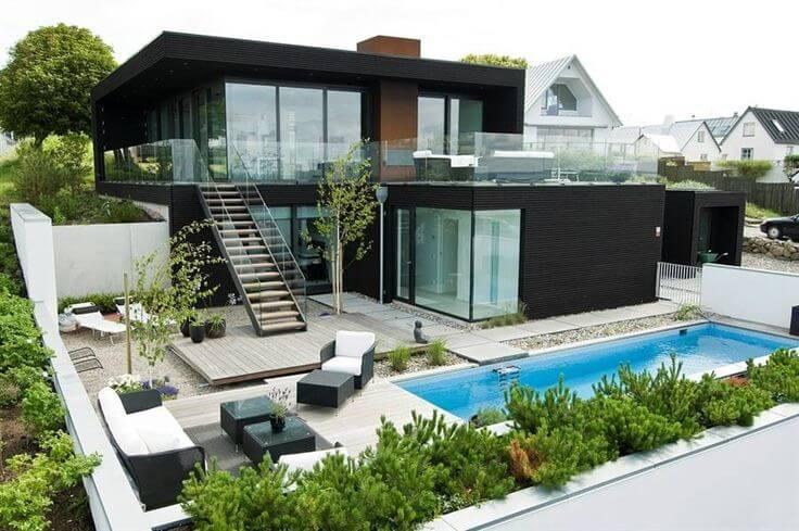 fachada de casa contemporanea preta