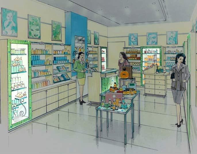 croqui de interiores de loja