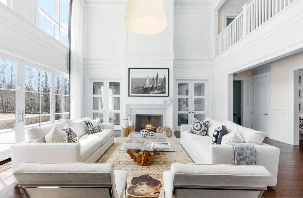 decoracao branca aconchegante sala grande